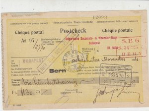 Austro Hungarian Fiscal Stamps on 1924 Swiss Postal Cheque No 97 Ref 33296