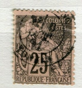 FRENCH COLONIES; Classic 1880s perf issue fine used 25c. value Postmark
