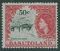 Basutoland SC# 81 QE II  & Mission Cave House, 50c, MH