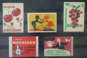 Match Box Labels ! drink food cook waiter grapes cherries GN5