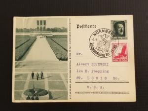 1937 Nuremberg Germany to St Louis Missouri USA First Day Picture Postcard Cover
