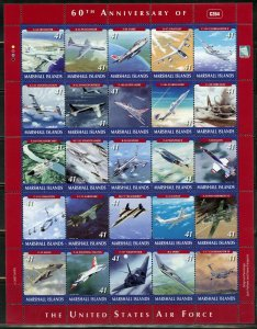 MARSHALL ISLANDS 60th ANN OF THE US AIRFORCE SCOTT #900 MINIATURE SHEET M