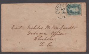 **CSA Cover, SC# 9, Charlottesville, VA, 10/8/1863, Ten Cents Vanzandt