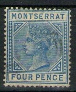 MONTSERRAT SG11 1884 4d BLUE FINE USED