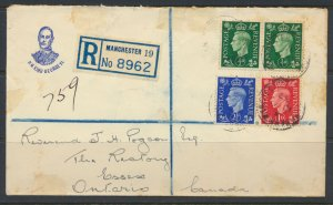 GB 1937 Cover w/ SG 462/3 466 FDC to Canada see scans SC 235/6 - 239 free shi...