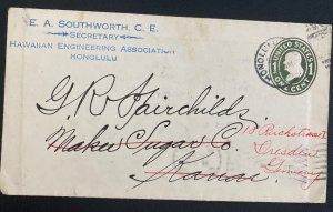 1910 Honolulu Hawaii USA Commercial Postal Stationery cover To Dresden Germany