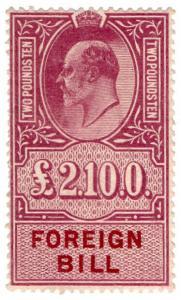 (I.B) Edward VII Revenue : Foreign Bill £2 10/- (unmounted mint)