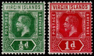 British Virgin Islands Scott 38-39 (1913) Mint H VF, CV $14.25 M