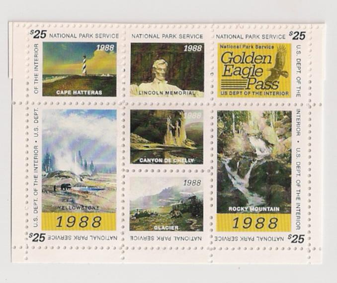 $25 Golden Eagle Pass Stamp NATIONAL PARKS 1988 w permit