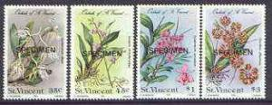 St Vincent 1985 Orchids set of 4 opt'd SPECIMEN unmounted...