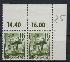 Germany - under French occupation Scott # 6N6; mint nh, pair, var size