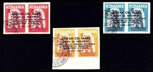 ROMANIA PRIVATE PRINT 1957 EUROPA THEME IMPERF PAIRS SET CDS VF TO XF SOUND