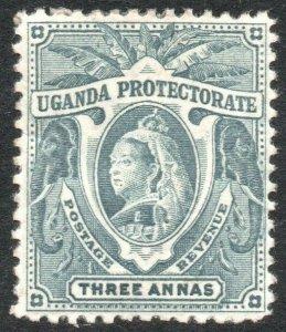 UGANDA-1898-1902 3a Bluish Grey Sg 87a AVERAGE MOUNTED MINT V41897