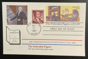 US #UX126 FDC + #1046 - Bicentennial of Constitution 1787-1987 [BIC62]