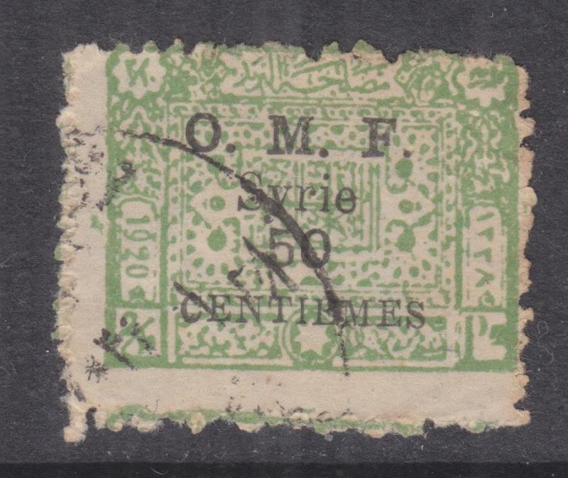 SYRIA, 1921 Damascus on Arab Kingdom, 50c. on 2/10th.Pi. Green, used.