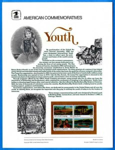 USPS COMMEMORATIVE PANEL #251 YOUTH YEAR #2160-63
