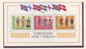 Faroe Islands Sc 101 1983 Folk Costumes stamp sheet mint NH