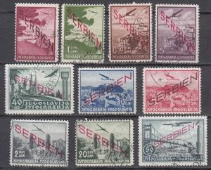 Serbia - German occupation - 1941 overprinted set Sc# 2NC1/2NC10 (7053)