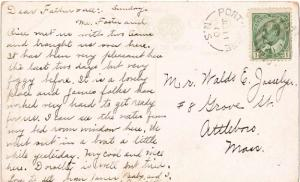 Canada 1c KEVII 1910 Port Lorne, N.S. split ring 1879-1970 PPC to Attleboro, ...