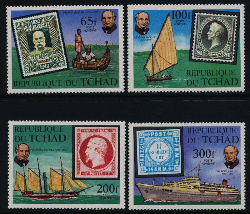 Chad C249-52 MNH Stamp on Stamp, Rowland Hill, Ships