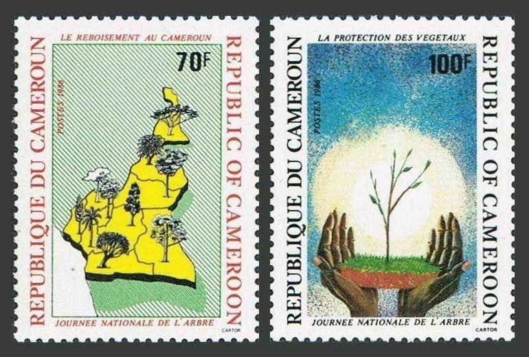 Cameroun 831-832,MNH.Michel 1143-1144. Arbor Day 1986.Afforestation,map;Seeding.