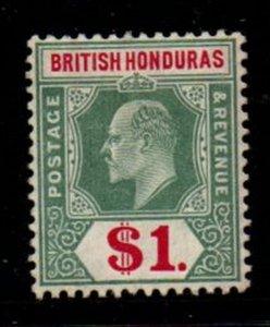 British Honduras Sc 69 1906 $1 green & carmine rose Edward VII stamp mint