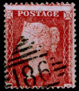 SG40, 1d rose-red PLATE 27, LC14, USED. Cat £18. IRELAND.
