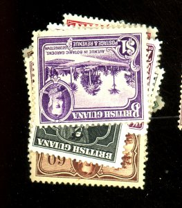 British Guiana #210-22 MINT F-VF OG LH/HR 222 Crease Cat$137