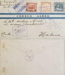 A) 1930, EL SALVADOR, COLUMBUS IN LA RÁBIDA, LETTER SHIPPED TO HAVANNA – CARIBBE