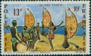 French Polynesia 1966 Sc#C44,SG62 13f Tahitian Dancer and Band MNH