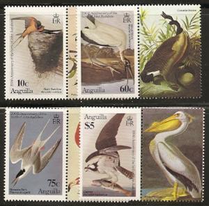 Anguilla 613-8 1985 Audubon set and s.s.