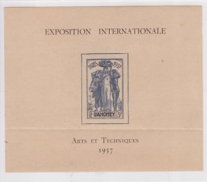 Dahomey # 197, Colonial Arts Exhibition Souvenir Sheet, Crease, 1/3 Cat.