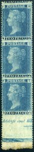SG45 1861 2d Blue Plate 9 (PF, SF, TF) Full Marginal Mounted Mint