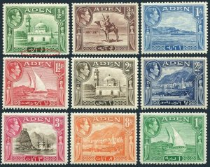 Aden 16-24,MLH/MNH. King George VI,1938-1942.Aidrus Mosque,Camel Corpsman,Harbor