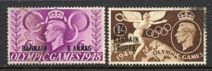 Bahrain 1948 KGVI Olympic Games 6a, 1R SG 65, 66 used
