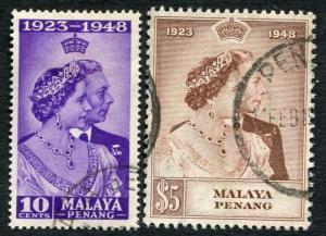 PENANG-1948 Royal Silver Wedding Sg 1-2 FINE USED V19873