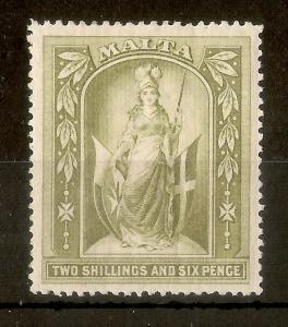 Malta 1899 2/6d SG34 Mint Cat£45