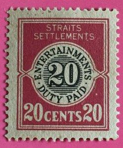 MALAYA 1920 Entertainments Duty Paid 20c Fresh Mint NH No Wmk ISC#ED2 M3299