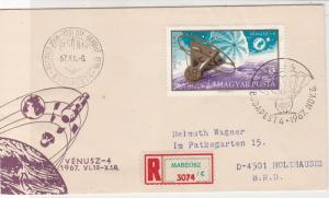 Hungary 1967 FDC Budapest Cancel Venusz Pic Registered Space Stamps Cover 22776