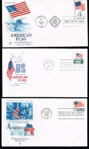 US STAMP FDC AMERICAN FLAG CACHET FDC COVER LOT