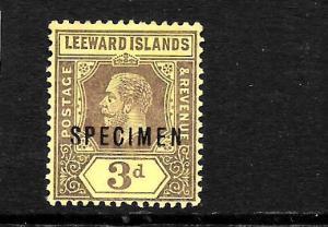 LEEWARD ISLANDS 1912-22  3d  KGV     MLH  SPECIMEN  SG 51cs