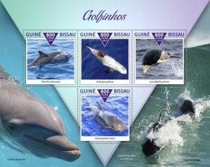GUINEA BISSAU - 2019 - Dolphins - Perf 4v Sheet - M N H