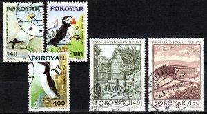 Faroe Islands #36-40  F-VF Used CV $3.10 (X5638)