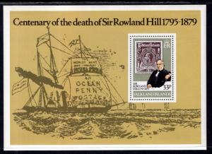 Falkland Islands MNH S/S 295 Centenary Death Sir Rowland Hill 1979