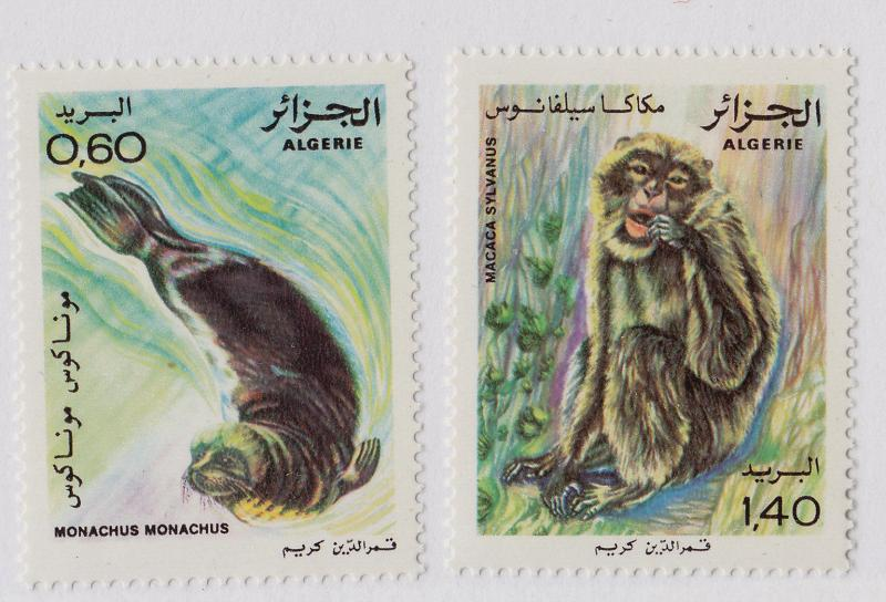 ALGERIA MNH Scott # 672-673 Monk Seal, Macaque (2 Stamps)