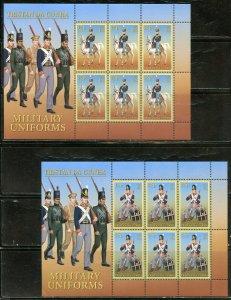 TRISTAN DA CUNHA MILITARY UNIFORMS SCOTT #820/25  SHEET SET MINT NH