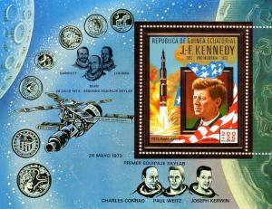 Equatorial Guinea 1973 Mi#BL85  John F.Kennedy/Space Souvenir Sheet Gold (1) MNH