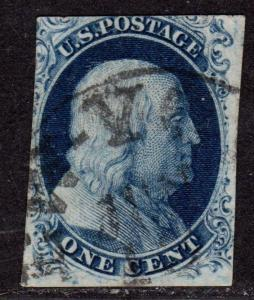 $US SC#7 plate 4, used, Pos 4R4, PF Cert., CV. $1200