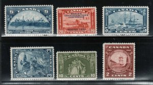 Canada #202 - #204 & #208 - #210 Very Fine Never Hinged Fresh Sets