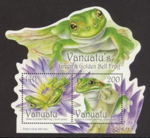 Vanuatu Sc# 1011a MNH Green & Golden Bell Frog (S/S)